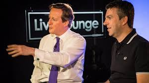 David Cameron and Newsbeat host Chris Smith at today's Live Lounge interview