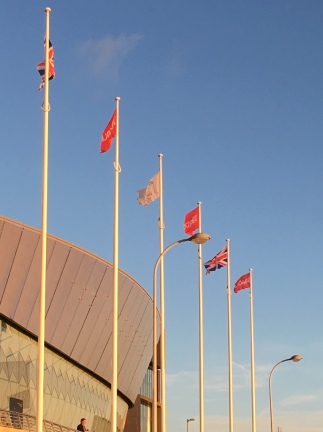 Flags outside the Labour conference