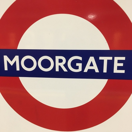 Moorgate tube roundel