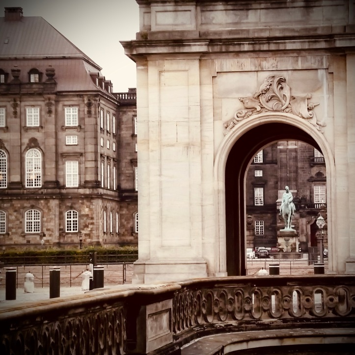 View through one of the pavilions at the Marble Bridge, looking towards Christiansborg, Copenhagen