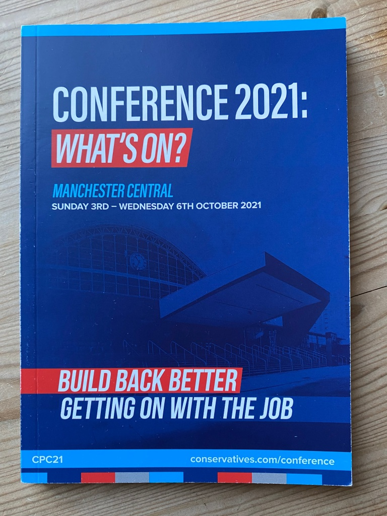 Conservative conference programme front cover